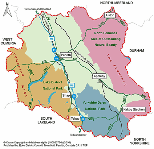 Map showing the boundary of Eden district and area covered by the national park and area of outstanding national beauty