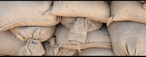 Stacked sandbags