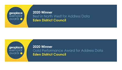Geoplaceplace exemplar awards. 2020 Best in North West for Address Data. Eden District Council.